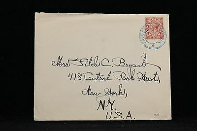 Tristan da Cunha: 1933 Packet Boat Cover + RMS Carinthia Letter to the USA