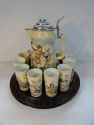 Mettlach Beer Stein Tankard Set 2348-1022 Tray 10 Tumblers Rare Dated 1899