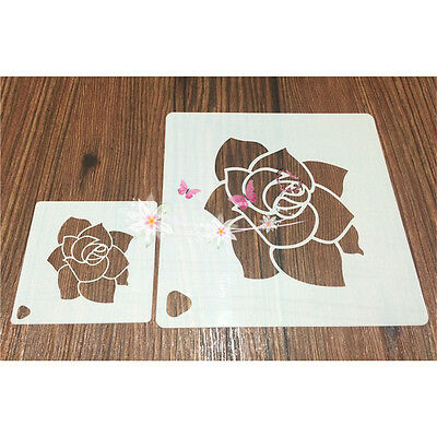 2 Pcs Packed Rose Flower Cookie Cake Stencil Decorate Mold Fondant Biscuit Tool