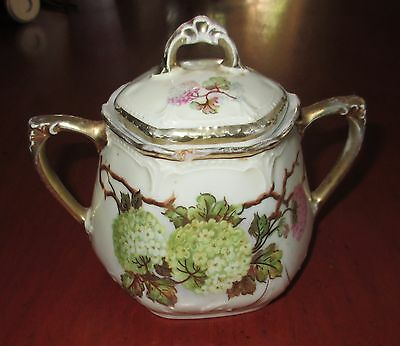Germany Hand Painted - Sugar Bowl - White and Pink Hydrangaes - USED