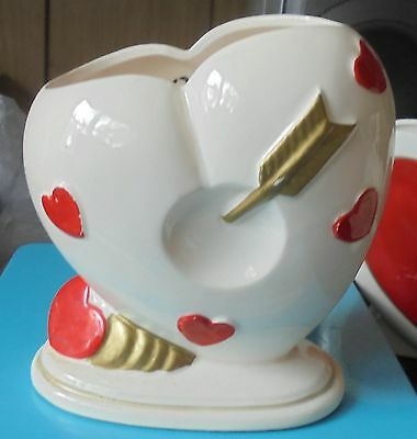 Vintage Relpo Valentine's Pottery Red Heart Planter COLLECTIBLE