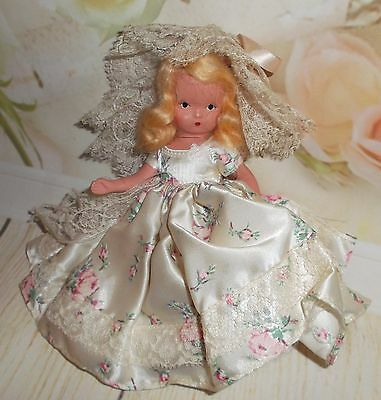 """NANCY ANN Blonde long dress & lace hat 6"""" Bisque 40's era doll fully JOINTED!"""