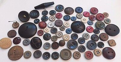 Large Lot Great Antique Vintage Wood Mixed Buttons Lot Carved Painted