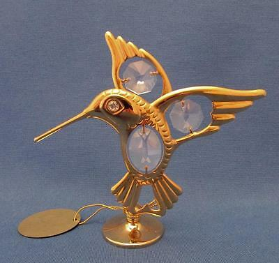 Crystal Delight Hummingbird Figurine Gold Plated Metal With Austrian Crystals