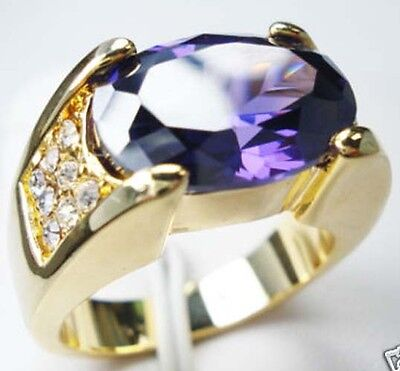 Man's Nice Jewelry generous 10KT Yellow gold filled amethyst ring SIZE:10