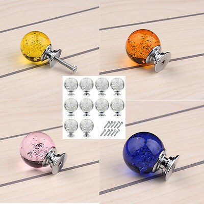 5Pcs 30MM Clear Crystal Glass Door Knobs Furniture Drawer Cabinet Kitchen Handle