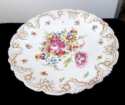 Antique Dresden Hand Painted Flowers  Serving Cake Plate Charger Germany 12""