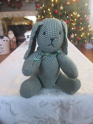primitive country cloth Green Plaid rabbit doll bunny decoration decor 11""