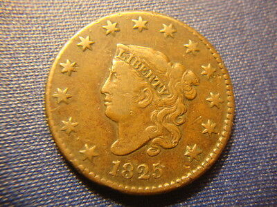 1825 VF XF Sharp Coronet Head Large Cent Nice Reverse