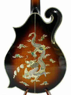 F5 Style Arch Top Solid Spruce & Curly Maple Dragon Inlay Mandocello NF5MO50
