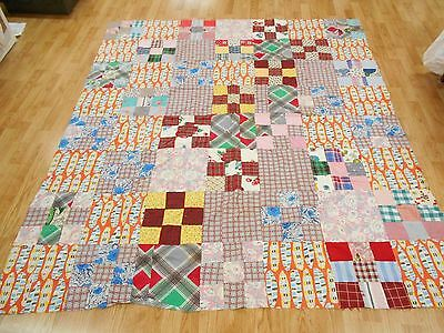 Vintage Antique NINE PATCH ** HAND STITCHED ** Quilt Top 80x72