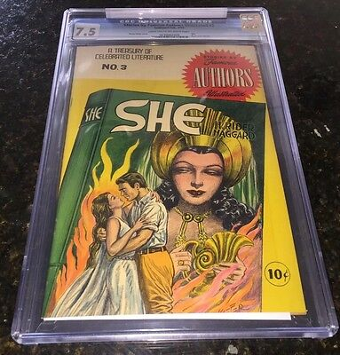 SHE by H.Rider Haggard CGC 7.5 Fiery Keifer GGA Cover 1950 w/back cover pin-up