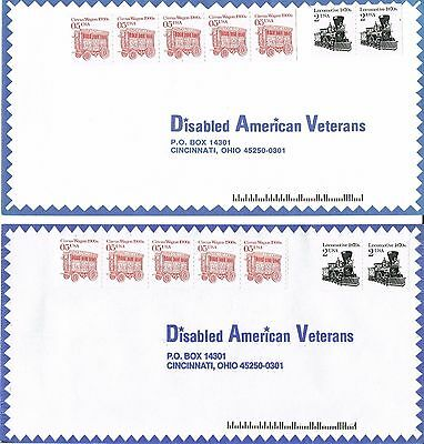 2 x Stamped Envelopes - Disabled American Veterans - 7 x Stamps - 1980's