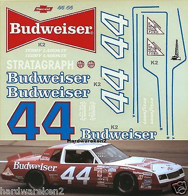 Nascar Decal #44 Budweiser Red- White 1983 Chevy Monte Carlo Terry Labonte -1/24