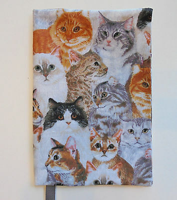 FABRIC Paperback Book Cover Standard Paperback Book CAT FACES GREY TONES KITTY