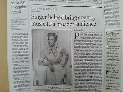 Patti Page Los Angeles Times OBITUARY Country Music Singer Tenneessee Waltz