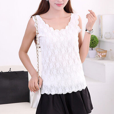 Women Solid Lace Perspective Sleeveless Slim Fit Tops Tank Vest Camisole Summer