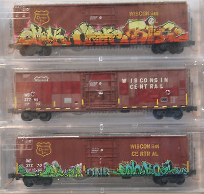 N Micro-Trains 99305330 WISCONSIN CENTRAL graffiti boxcars 3-pack -- NEW IN BOX
