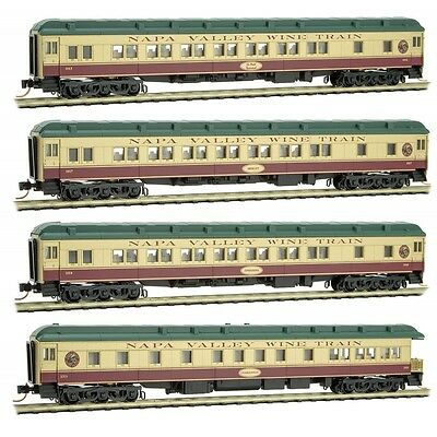 N Scale Micro Trains NAPA VALLEY WINE TRAIN 4-Pack passenger cars --  NEW IN BOX