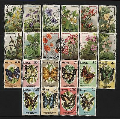Kenya 1983 / 1988 Collection 22 Flowers / Butterflies Stamps Used
