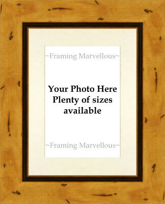 Rustic Effect Wooden Photo Picture Frame with Ivory Mount - Choose size