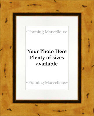 Rustic Effect Wooden Photo Picture Frame with White Mount - Choose size