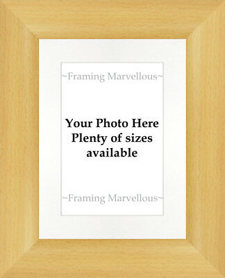 Beech Wood Effect Photo Picture Frame with White Mount - Choose size