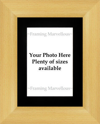 Beech Wood Effect Photo Picture Frame with Black Mount - Choose size