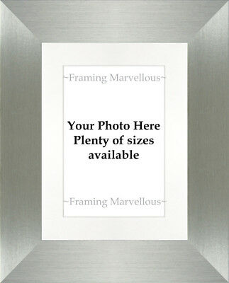 Brushed Pewter Effect Photo Picture Frame with White Mount - Choose size