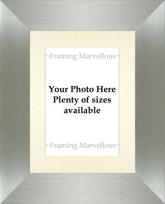 Brushed Pewter Effect Photo Picture Frame with Ivory Mount - Choose size