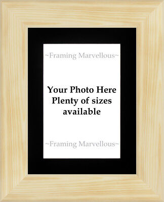 Natural Pine Wood Photo Picture Frame with Black Mount - Choose size