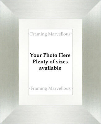 Brushed Silver Effect Photo Picture Frame with White Mount - Choose size