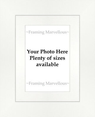 Matt White Effect Photo Picture Frame with White Mount - Choose size