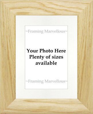 Solid Oak Wood Photo Picture Frame with White Mount - Choose size