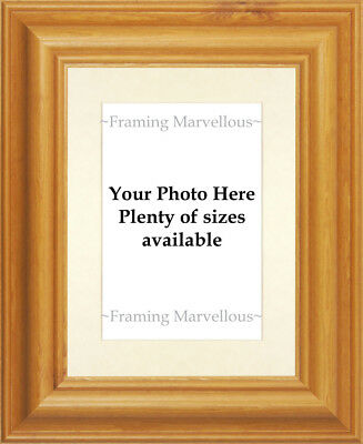Honey Pine Wood Photo Picture Frame with Ivory Mount - Choose size