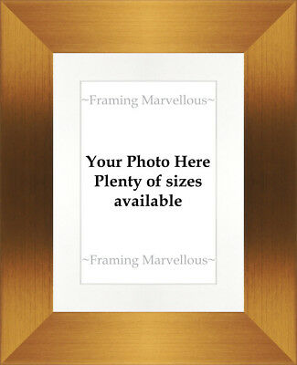 Brushed Bronze Effect Photo Picture Frame with White Mount - Choose size