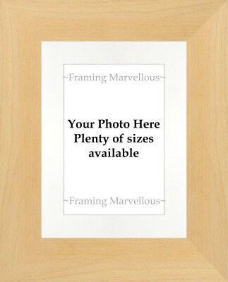 Real Beech Wood Photo Picture Frame with White Mount - Choose size