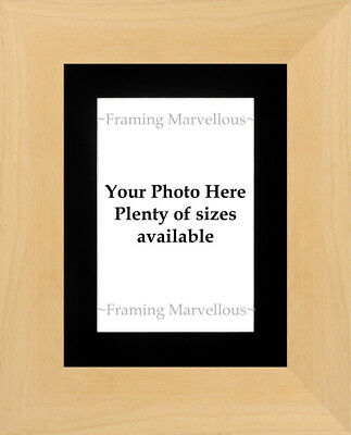 Real Beech Wood Photo Picture Frame with Black Mount - Choose size