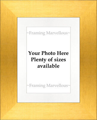 Brushed Gold Effect Photo Picture Frame with White Mount - Choose size