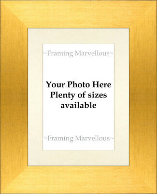 Brushed Gold Effect Photo Picture Frame with Ivory Mount - Choose size