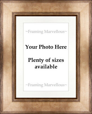 Metallic Bronze Effect Photo Picture Frame with White Mount - Choose size