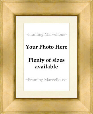 Metallic Gold Effect Photo Picture Frame with Ivory Mount - Choose size