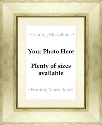Metallic Champagne Effect Photo Picture Frame with Ivory Mount - Choose size
