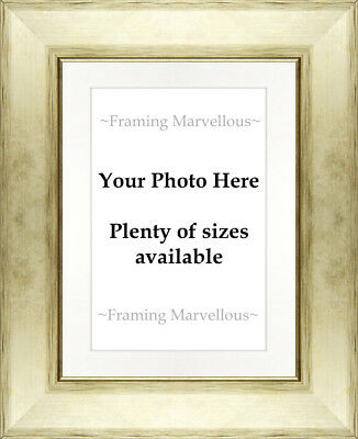 Metallic Champagne Effect Photo Picture Frame with White Mount - Choose size