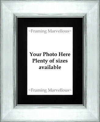Metallic Silver Effect Photo Picture Frame with Black Mount - Choose size