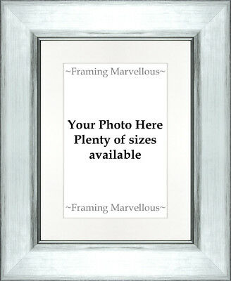 Metallic Silver Effect Photo Picture Frame with White Mount - Choose size