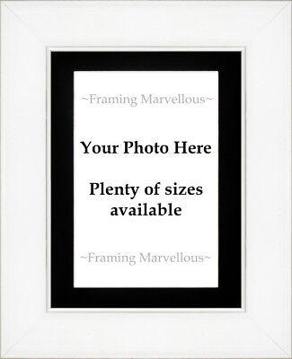 White Wash Effect Photo Picture Frame with Black Mount - Choose size