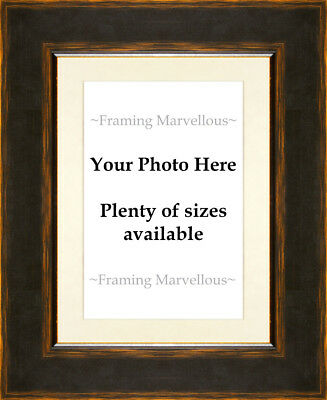 Black and Orange Effect Photo Picture Frame with Ivory Mount - Choose size
