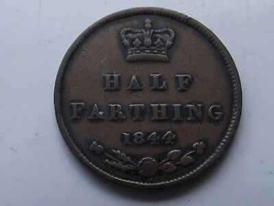 Great Britain Queen Victoria 1844 Half Farthing Coin Good Grade See Pictures