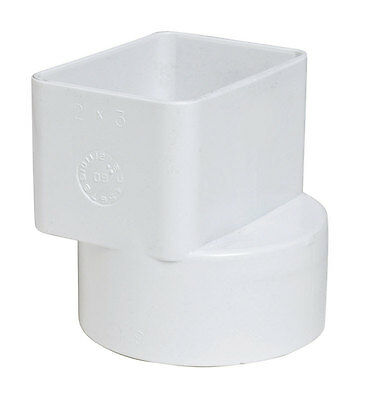 Plastic Trends  2 in. Dia. x 3 in. Dia. PVC  Flush Downspout Adapter, P1923